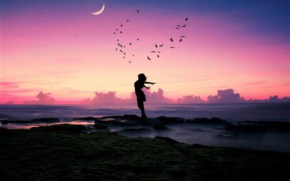 Wallpaper Girl, pose, birds, sea, moon, dusk, silhouette