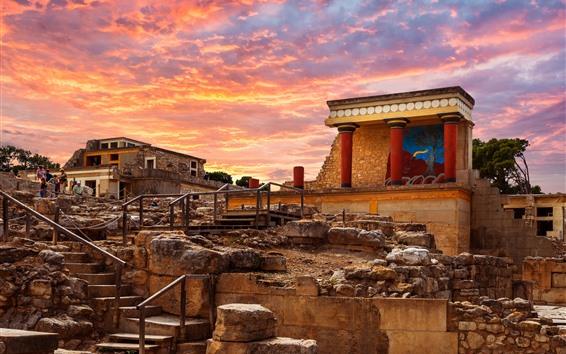 Papéis de Parede Grécia, crete, escadas, edifícios, nuvens, pôr do sol
