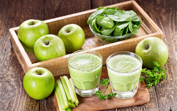 Wallpaper Green apples, vegetable foliage, smoothies, drinks