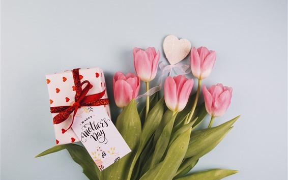 Обои С Днем Матери, розовые тюльпаны, подарок