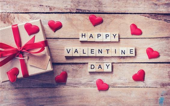 Обои С Днем Святого Валентина, подарок, любовь сердца