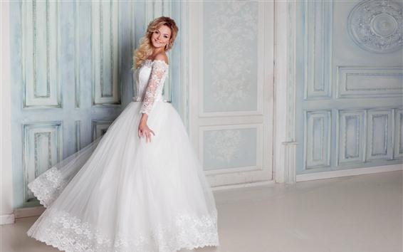 Papéis de Parede Noiva feliz, casamento, saia branca