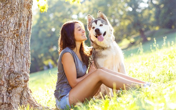 Wallpaper Happy girl and husky dog, grass, summer