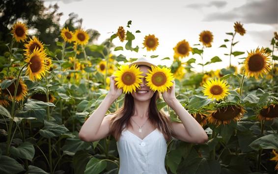 Wallpaper Happy girl, smile, sunflowers, like a glasses