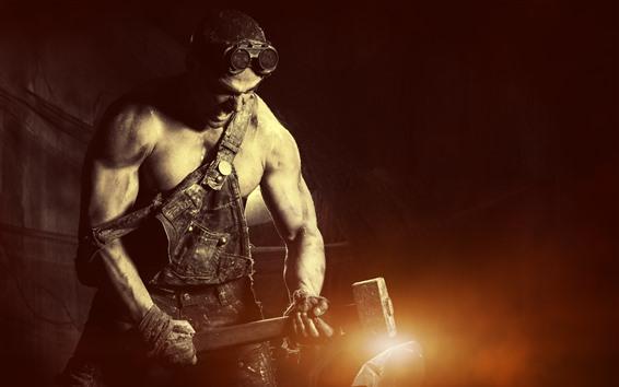 Wallpaper Hard worker, sledgehammer, man, glare
