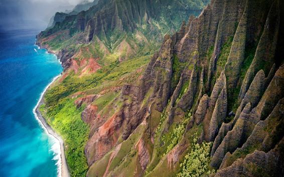 Wallpaper Hawaii, Kauai island, mountains, sea, USA