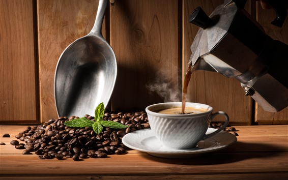 Wallpaper Hot coffee, cup, kettle, coffee beans