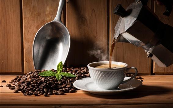 Обои Горячий кофе, чашка, чайник, кофейные зерна