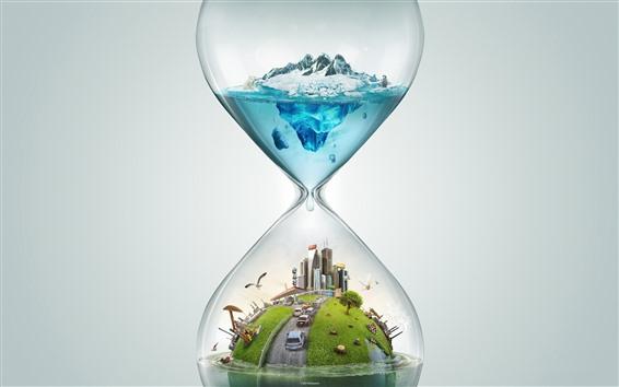 壁紙 砂時計、都市、車、シロクマ、雪、海、創造的なデザイン