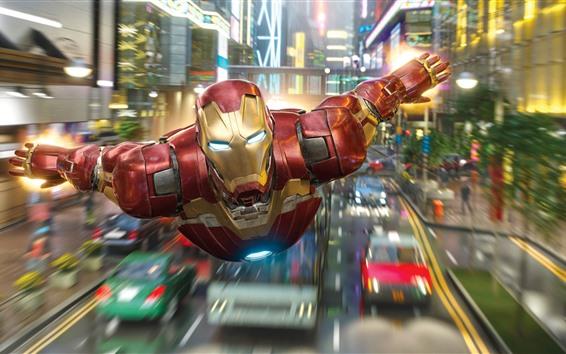 Fond d'écran Vol Iron Man, ville, super-héros Marvel