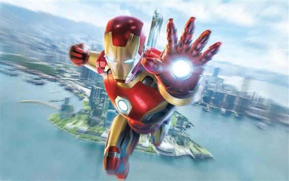 Fond d'écran Iron Man, vol, main, ville, ciel