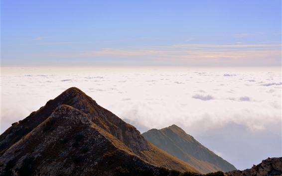 Hintergrundbilder Italien, Carrega Ligure, Berg, Wolken