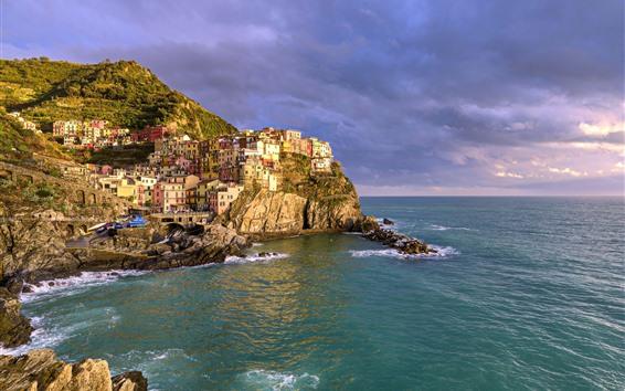 Papéis de Parede Itália, cinque terre, mar ligurian, casas, montanha, nuvens