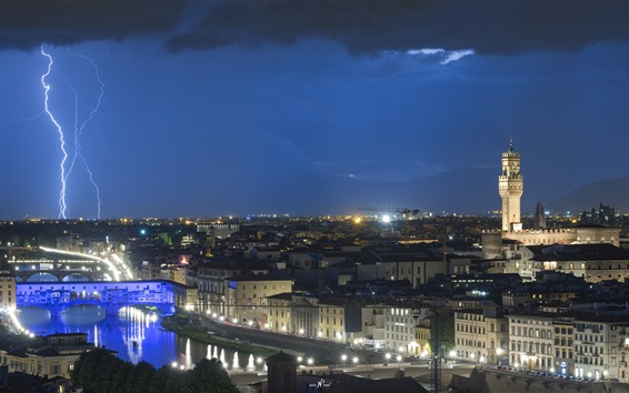 Fondos de pantalla Italia, Florencia, relámpagos, ciudad, noche, luces