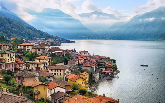 Wallpaper Italy, Lombardy, city, houses, mountains, river