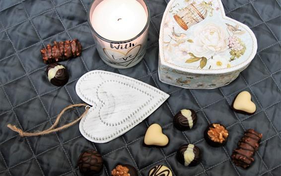 壁紙 愛の心、ギフト、箱、チョコレート菓子、ロマンチックな