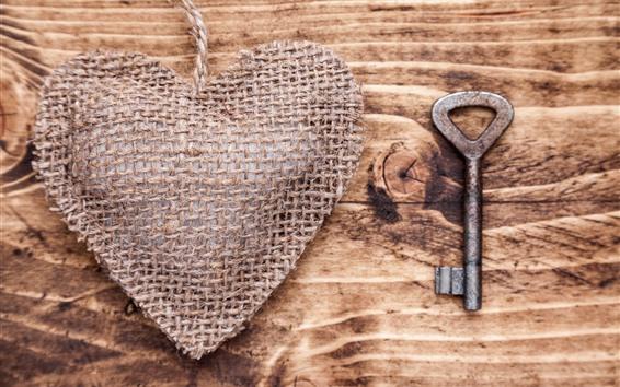 Wallpaper Love heart, rope, key