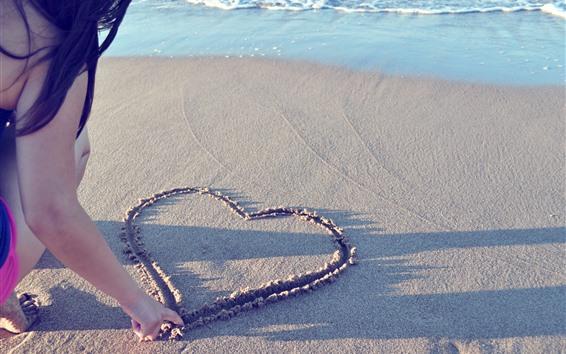 Wallpaper Love heart, sand, beach, girl, sea