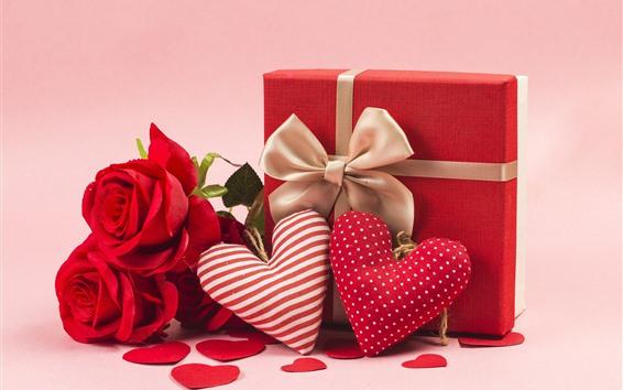 Papéis de Parede Corações do amor, rosas vermelhas, presente, romântico