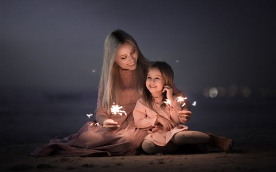 Wallpaper Mother and daughter, happy family, sparks, fireworks