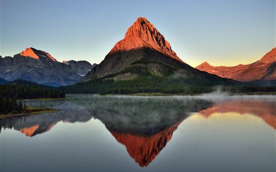 Wallpaper Mountain, lake, water reflection