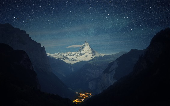Wallpaper Mountains, starry, night, valley, town