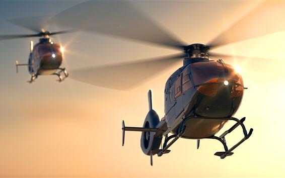 Обои Многоцелевой вертолет, рассвет, солнце
