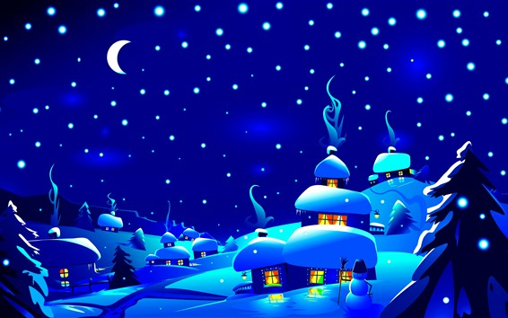 Wallpaper Night, snow, village, houses, trees, snowflakes, Christmas art picture