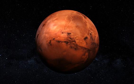 Wallpaper Orange planet, starry, space
