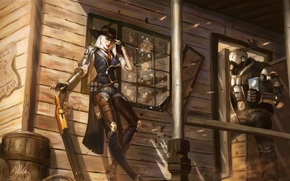 Обои Overwatch, девушка и робот, художественная фотография