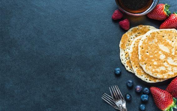 Wallpaper Pancakes, tea, strawberries, blueberries