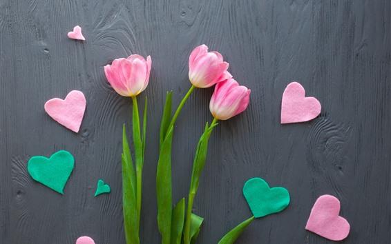 壁紙 ピンクのチューリップ、愛の心、ロマンチックな