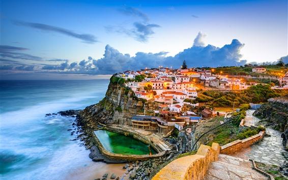 Fondos de pantalla Portugal, Sintra, ciudad, nubes, mar, cielo, atardecer