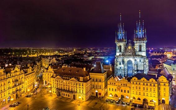 壁紙 プラハ、チェコ共和国、美しい街の夜、ライト、建物
