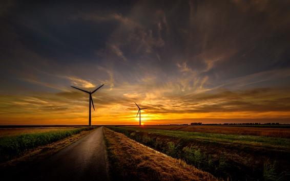 Wallpaper Road, fields, windmills, sunset, sky, clouds