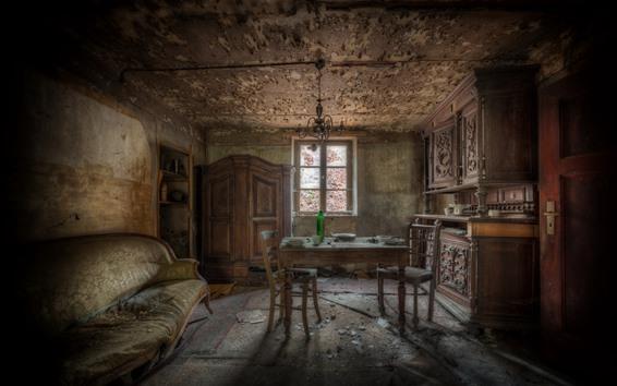 Papéis de Parede Sala, poeira, mesa, cadeira, ruínas