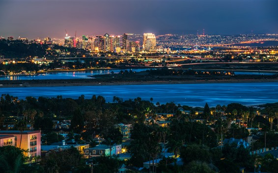 Fond d'écran San Diego, ville, nuit, rivière, lumières, USA