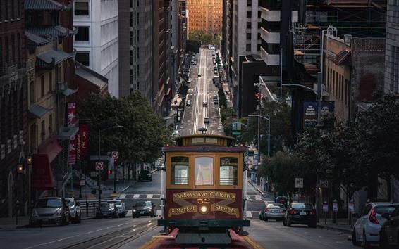 Обои Сан-Франциско, город, улица, трамвай, США