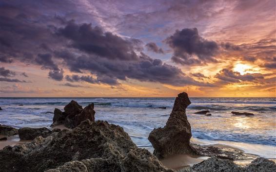 Wallpaper Sea, sunset, sky, clouds, coast