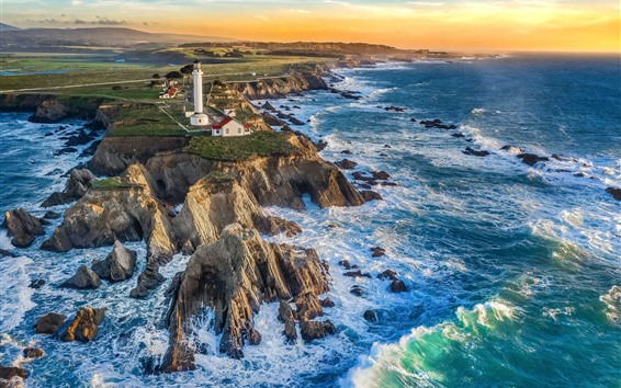 Wallpaper Sea, waves, lighthouse, half-island