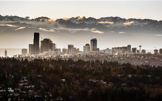 Hintergrundbilder Seattle, Wolkenkratzer, Bäume, Nebel, Berge, Morgen, USA