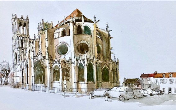 Wallpaper Sketch drawing, watercolor, France, castle, cars