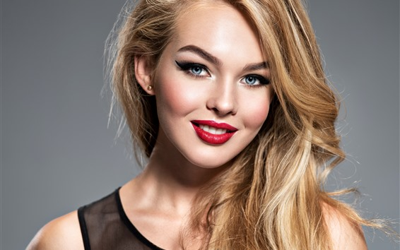 Wallpaper Smile blonde girl, blue eyes, red lip, makeup