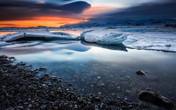 Обои Снег, лед, море, вода, галька, зима