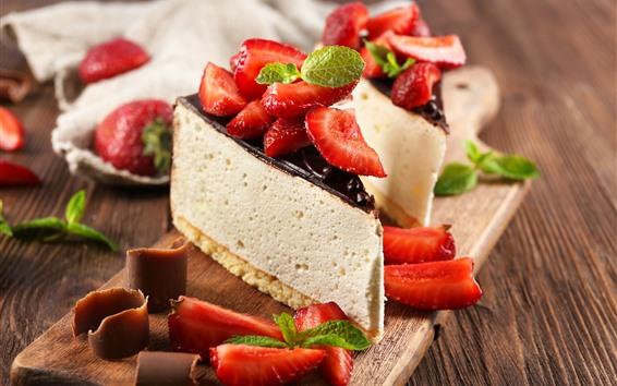 배경 화면 치즈 케이크, 초콜렛, 딸기의 일부 조각