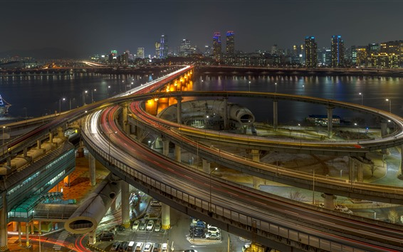 Обои Южная Корея, Сеул, город, ночь, шоссе, дороги, мост, река, огни