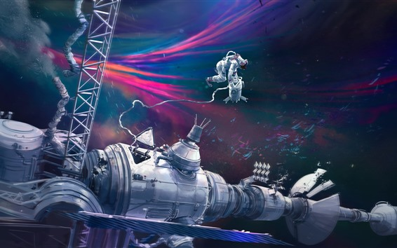 Wallpaper Space Station, astronaut, art picture