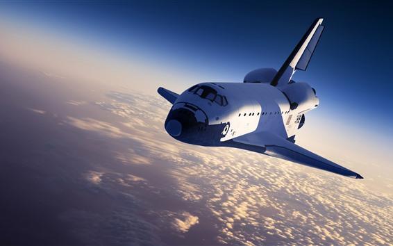 Fondos de pantalla Nave espacial, cielo, nubes, sol.