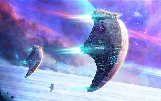 Fondos de pantalla Nave espacial, estrellas, espacio, diseño de ciencia ficción.