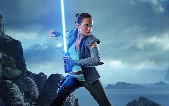 Wallpaper Star Wars: The Last Jedi, girl, laser sword